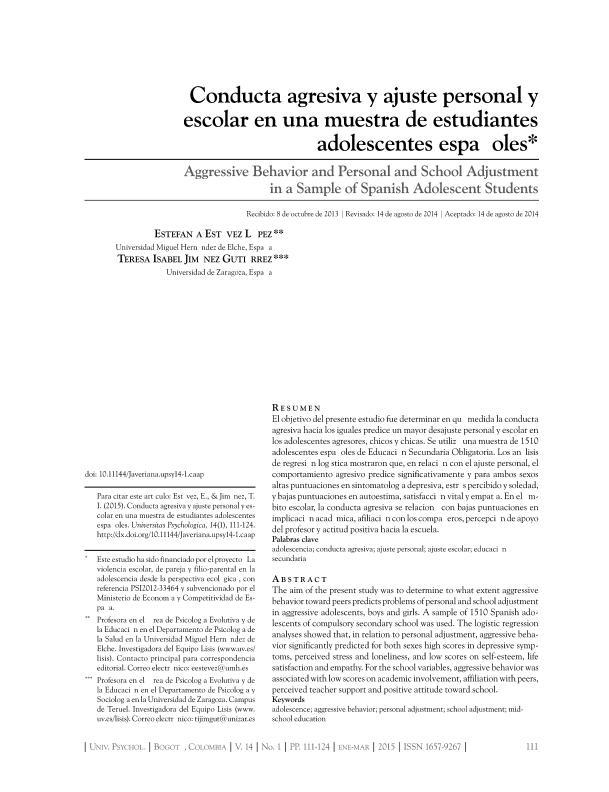 Conducta agresiva y ajuste personal y escolar en una muestra de estudiantes adolescentes españoles