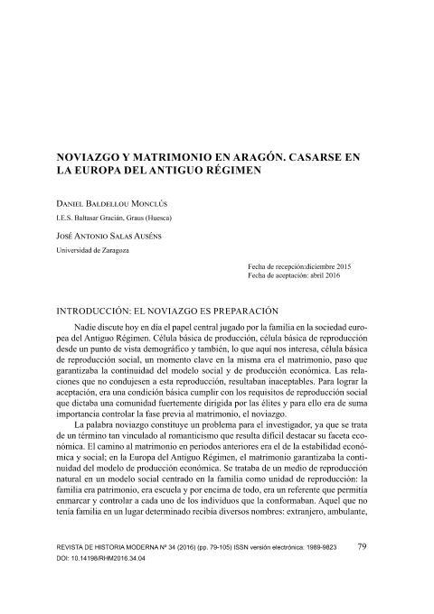 Noviazgo y matrimonio en Aragón. Casarse en la europa del Antiguo Régimen