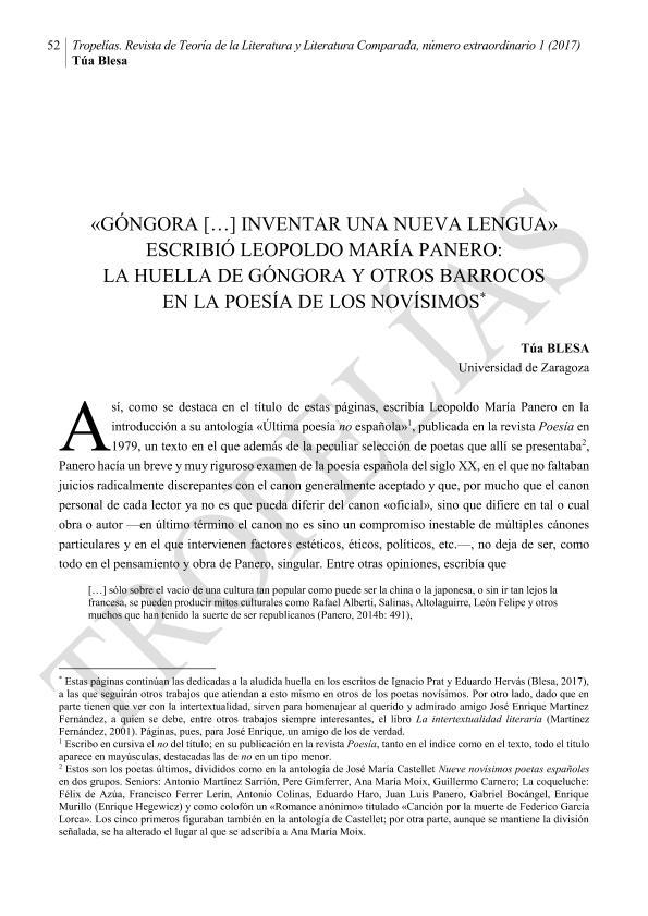 «Góngora […] inventar una nueva lengua» escribió Leopoldo María Panero: la huella de Góngora y otros barrocos en la poesía de los novísimos