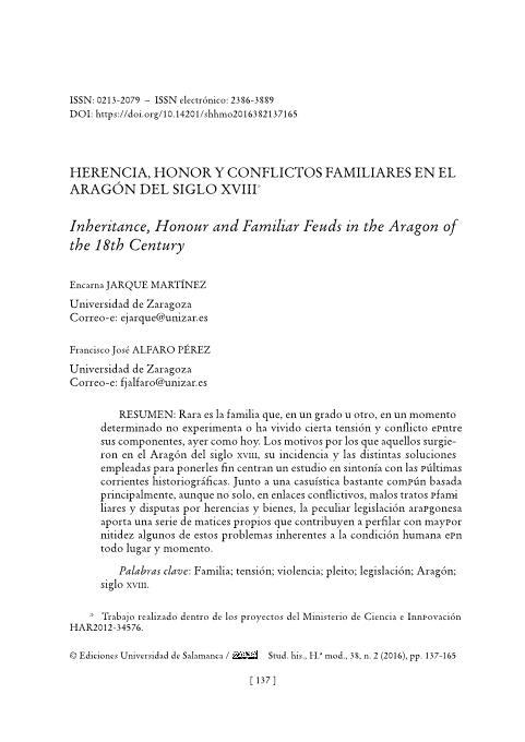 Herencia, honor y conflictos familiares en el Aragón del siglo XVIII