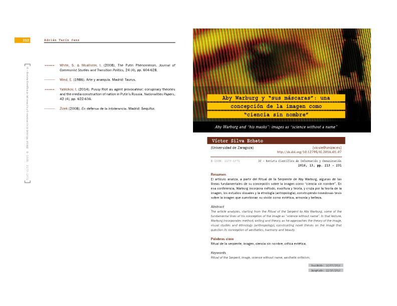 """Disonancias de la comunicación y de la cultura visual: Aby Warburg y """"la ciencia sin nombre"""""""