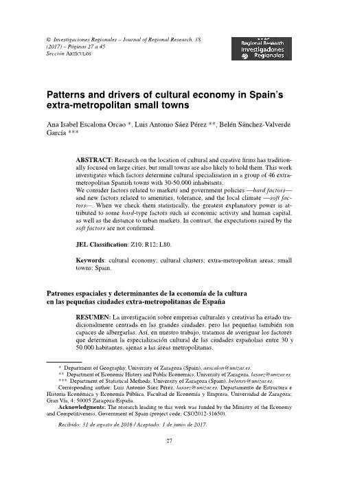 Patterns and drivers of cultural economy in Spain's extra-metropolitan small towns