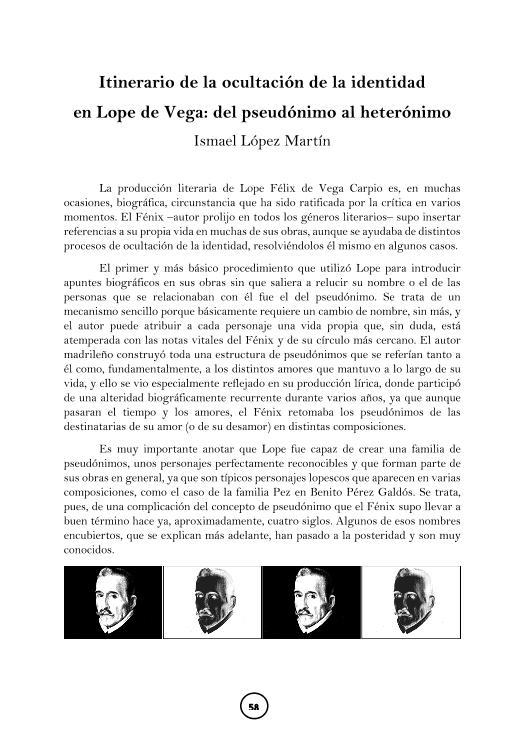 Itinerario de la ocultación de la identidad en Lope de Vega: del pseudónimo al heterónimo