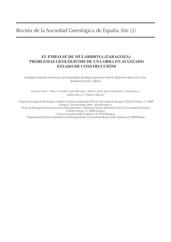 El embalse de Mularroya (Zaragoza): problemas geológicos de una obra en avanzado estado de construcción.