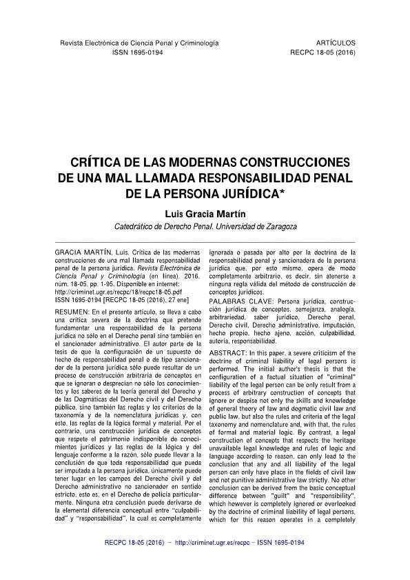 Crítica de las modernas construcciones de una mal llamada responsabilidad penal de la persona jurídica