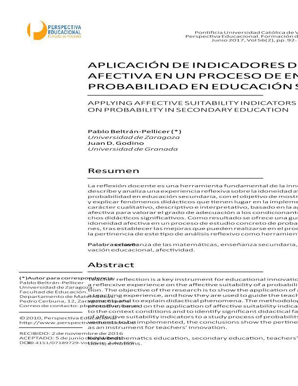 Aplicación de indicadores de idoneidad afectiva en un proceso de enseñanza de probabilidad en educación secundaria