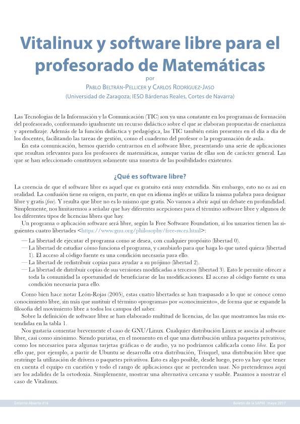 Vitalinux y software libre para el profesorado de Matemáticas