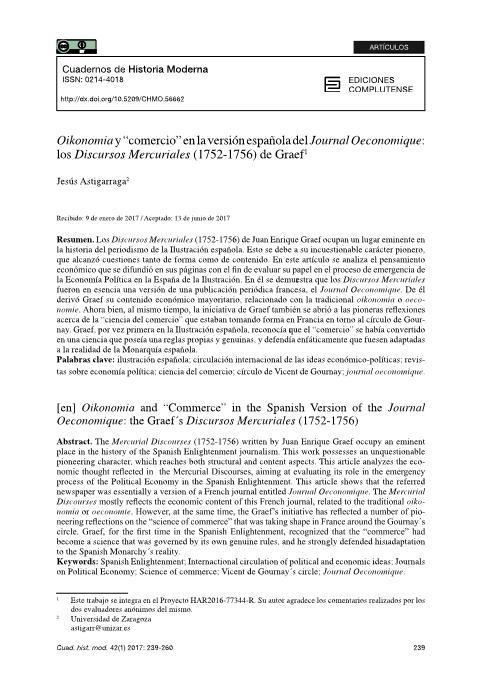 Oikonomia y 'Comercio' En la versión española del Journal Oeconomique: los Discursos Mercuriales (1752-1756) de Graef