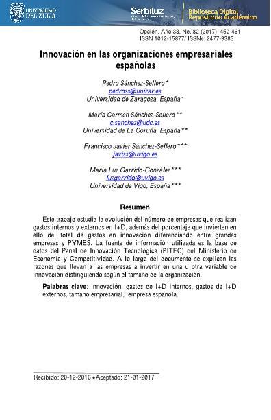 Innovación en las organizaciones empresariales españolas