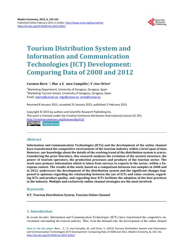 Tourism Distribution System and Information and Communication Technologies (ICT) Development: comparing Data of 2008 and 2012