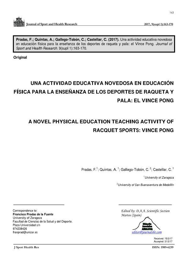 Una actividad educativa novedosa en educación física para la enseñanza de los deportes de raqueta y pala: el Vince Pong