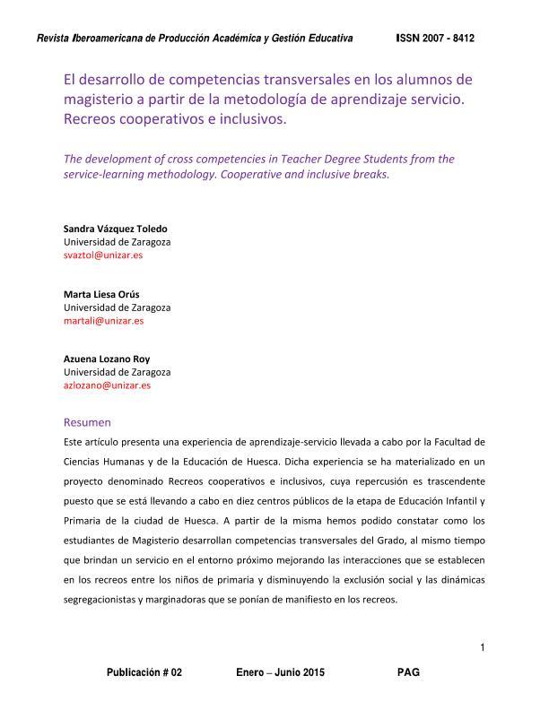 El desarrollo de competencias transversales en los alumnos de magisterio a partir de la metodología de aprendizaje servicio. Recreos cooperativos e inclusivos