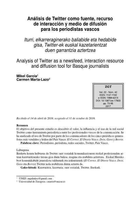 Análisis de Twitter como fuente, recurso de interacción y medio de difusión para los periodistas vascos