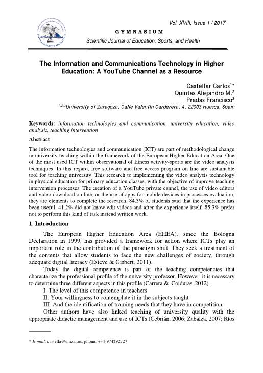 The information and communications technology in higher education: A youtube channel as a resource