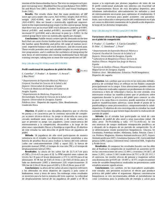 Variaciones séricas de magnitudes bioquímicas en el pádel de competición