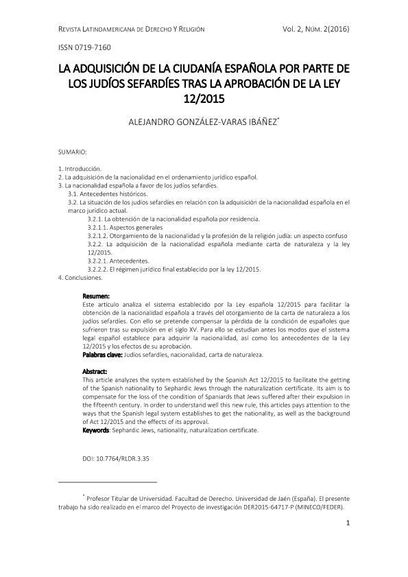 La adquisición de la ciudadanía española por parte de los judíos sefardíes tras la aprobación de la Ley 12/2015