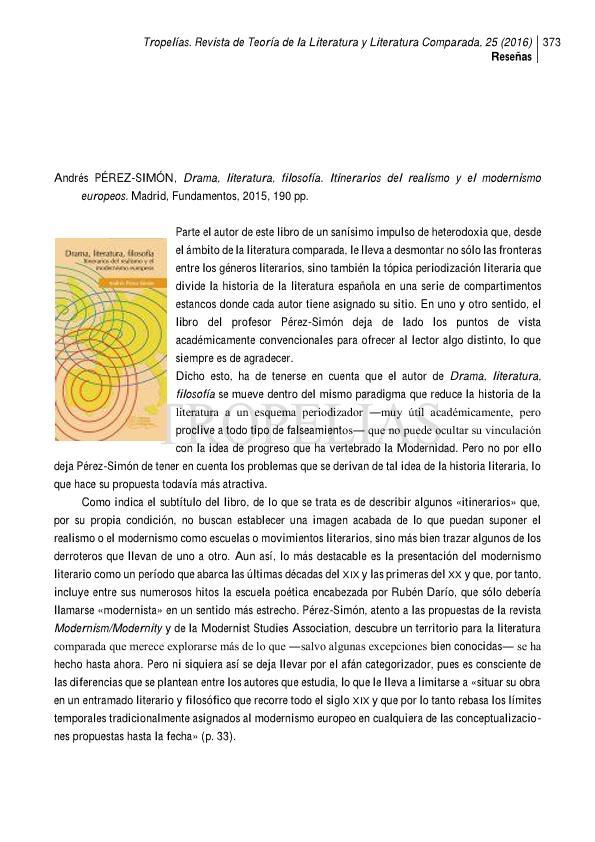 Andrés Pérez-Simon, Drama, literatura, filosofía. Itinerarios del realismo y del modernismo europeos