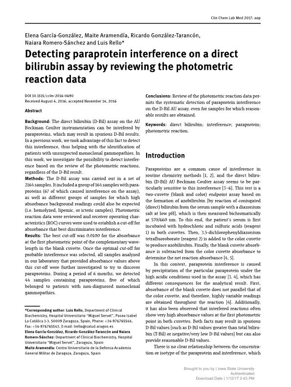 Detecting paraprotein interference on a direct bilirubin assay by reviewing the photometric reaction data