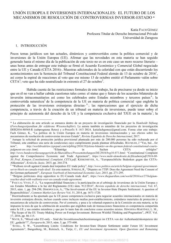 Unión Europea e Inversiones Internacionales: El Futuro De Los Mecanismos De Resolución De Controversias Inversor-Estado
