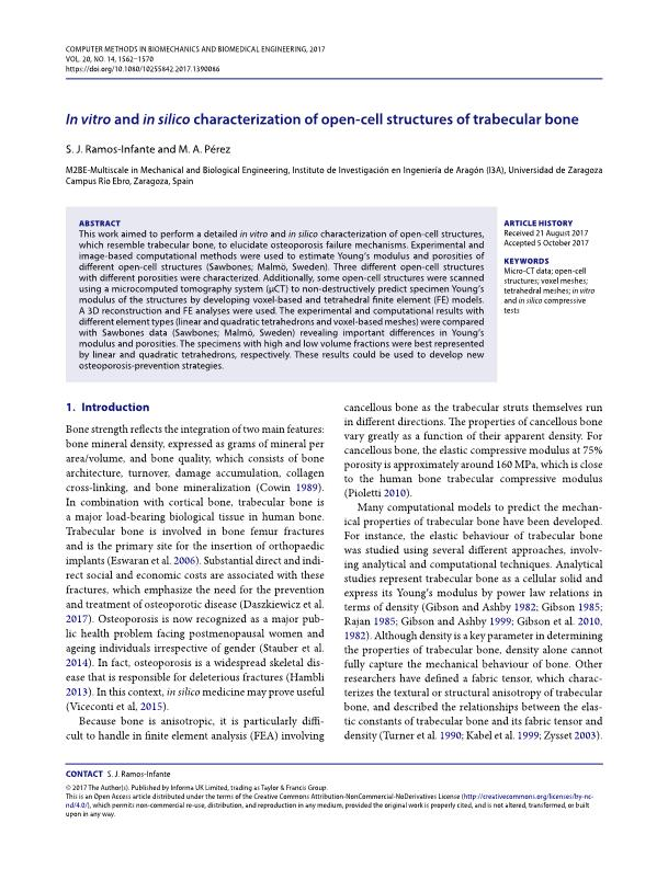 In vitro and in silico characterization of open-cell structures of trabecular bone