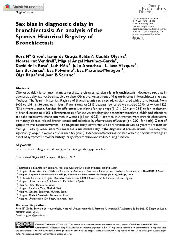 Sex bias in diagnostic delay in bronchiectasis: An analysis of the Spanish Historical Registry of Bronchiectasis