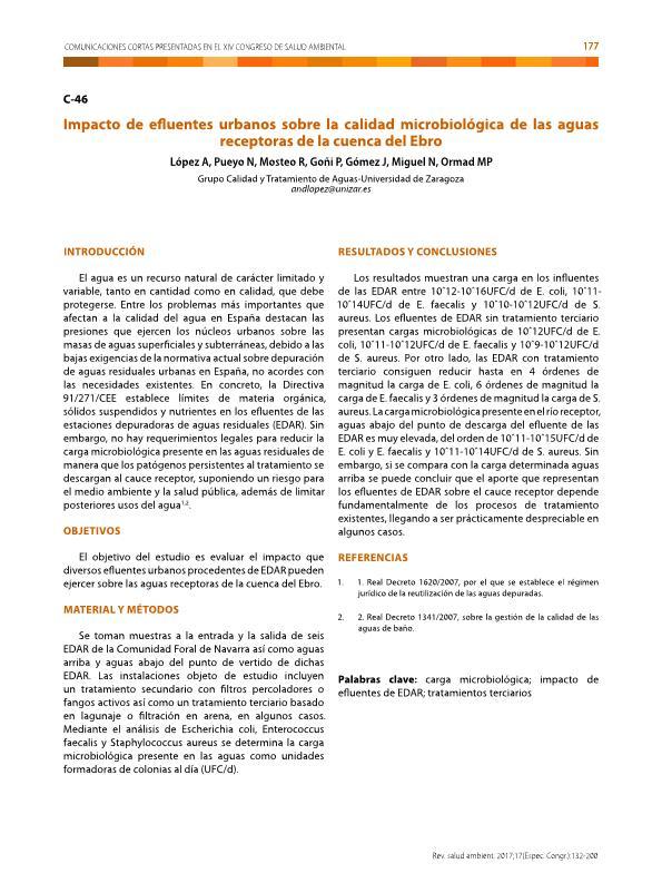Impacto de efluentes urbanos sobre la calidad microbiológica de las aguas receptoras de la cuenca del Ebro