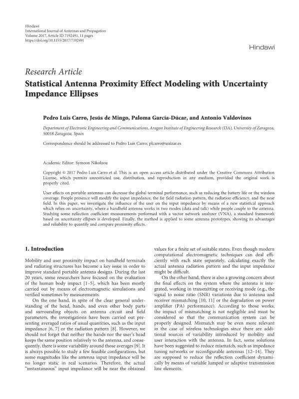 Statistical Antenna Proximity Effect Modeling with Uncertainty Impedance Ellipses
