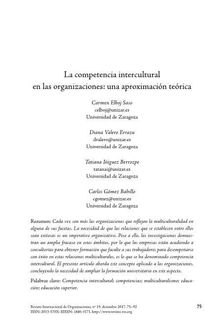 La competencia intercultural en las organizaciones: una aproximación teórica