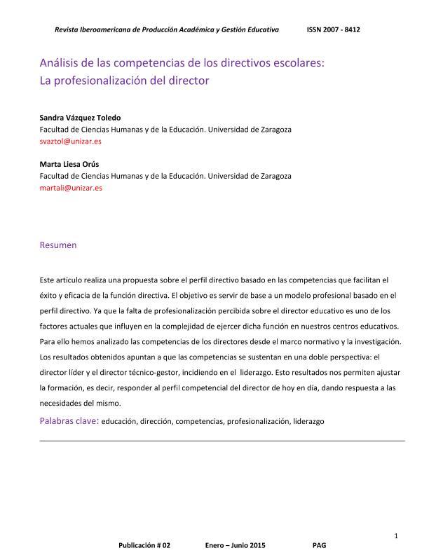 Análisis de las competencias de los directivos escolares: la profesionalización del director