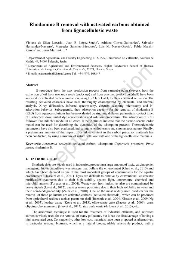 Rhodamine B removal with activated carbons obtained from lignocellulosic waste.