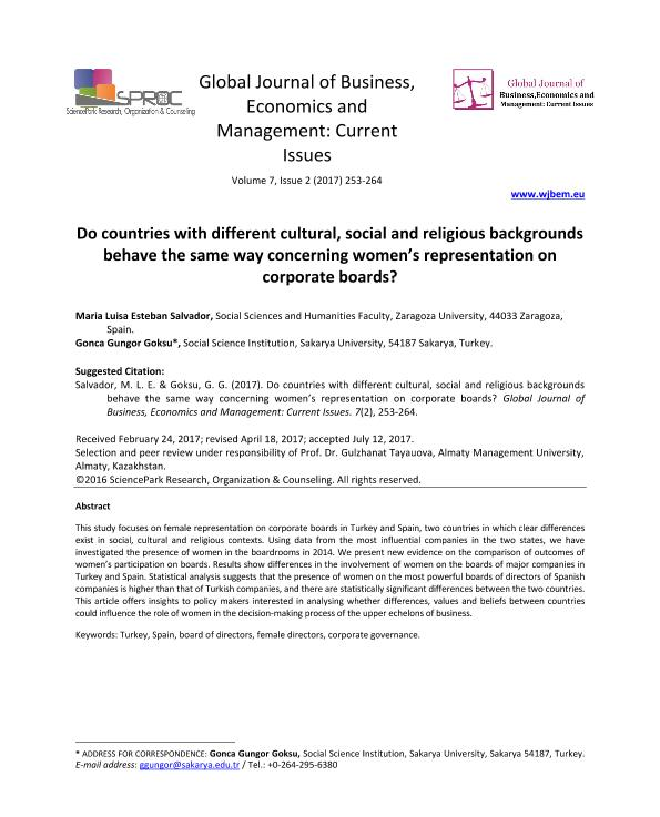 Do countries with different cultural, social and religious backgrounds behave the same way concerning women's representation on corporate boards?