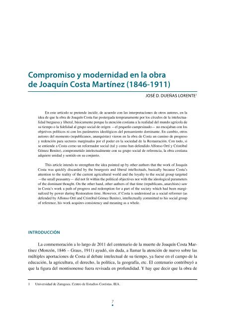 Compromiso y modernidad en la obra de Joaquín Costa Martínez (1846-1911)
