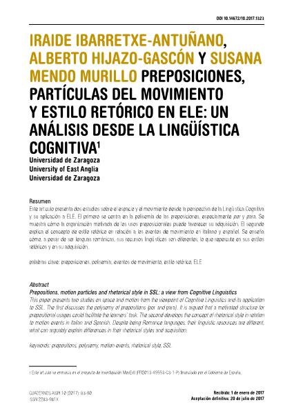 Preposiciones, partículas del movimiento y estilo retórico en ELE: un análisis desde la lingüística cognitiva