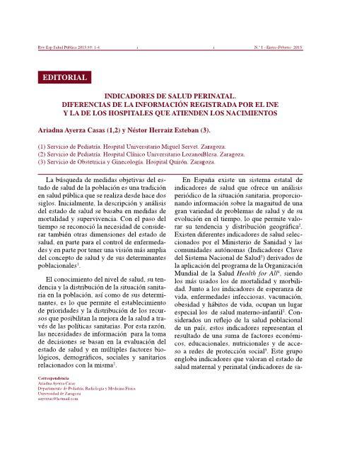 Indicadores de salud perinatal. Diferencias de la información registrada por el INE y la de los hospitales que atienden los nacimientos