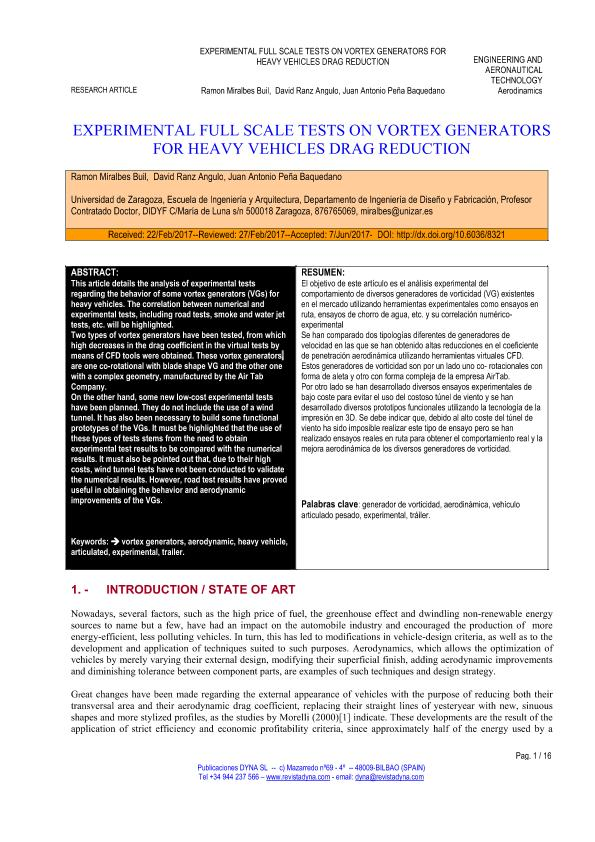 Experimental full scale tests on vortex generators for heavy vehicles drag reduction