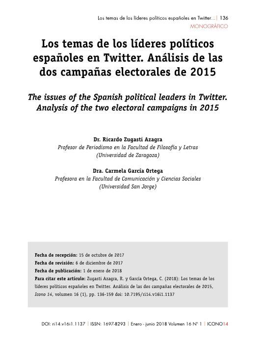 Los temas de los líderes políticos españoles en Twitter. Análisis de las dos campañas electorales de 2015