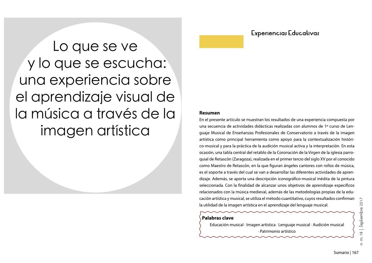 Lo que se ve y lo que se escucha: una experiencia sobre el aprendizaje visual de la música a través de la imagen