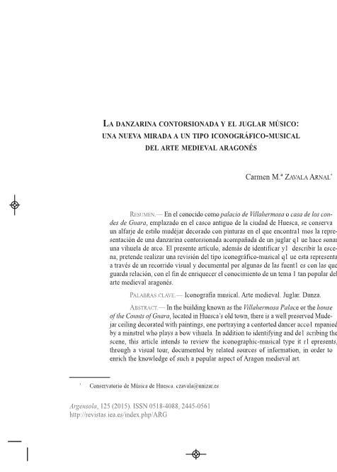 La danzarina contorsionada y el juglar músico: Una nueva mirada a un tipo iconográfico-musical del arte medieval aragonés