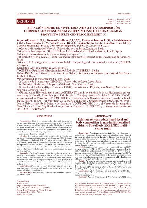 Relación entre el nivel educativo y la composición corporal en personas mayores no institucionalizadas: proyecto multi-céntrico EXERNET