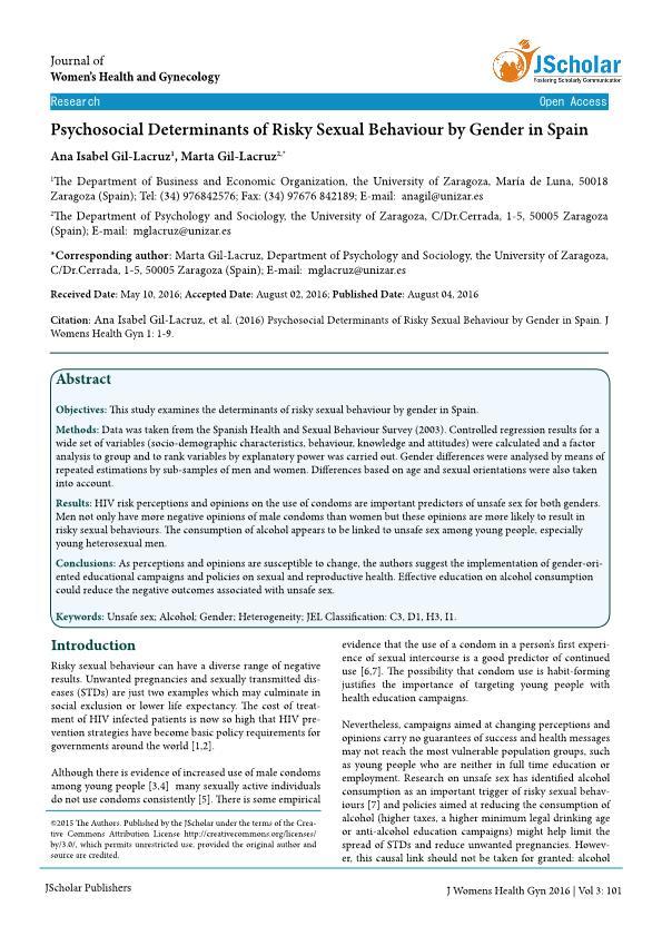 Psychosocial determinants of risky sexual behaviour by gender in Spain