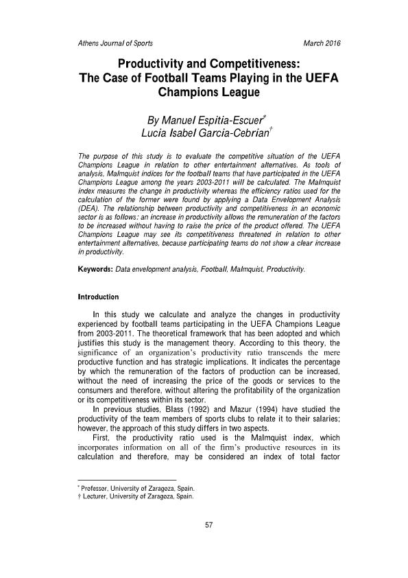 Productivity and competitiveness: the case of football teams playing in the UEFA Champions League