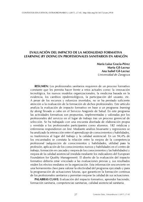 Evaluación del impacto de la modalidad formativa learning by doing, en profesionales sanitarios en Aragón