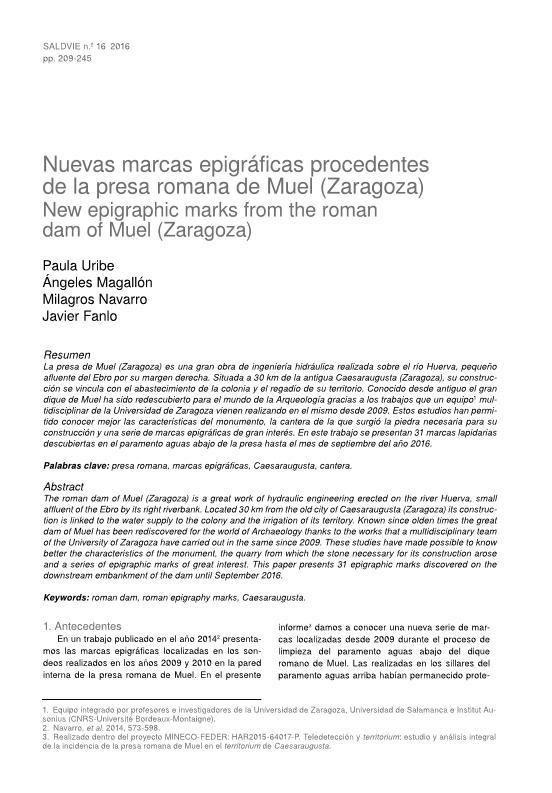 Nuevas marcas epigráficas de la presa de Muel (Zaragoza)
