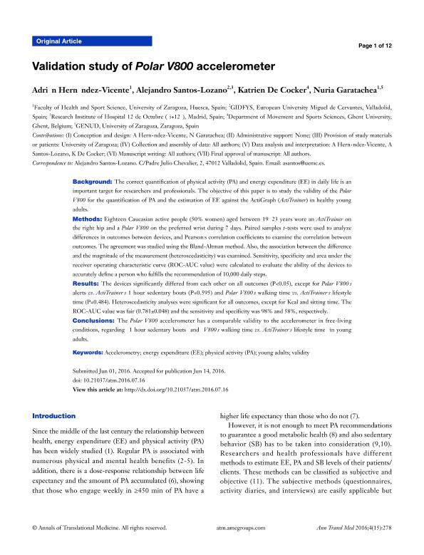 Validation study of Polar V800 accelerometer