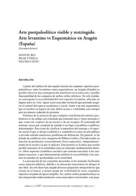Arte postpaleolítico visible y restringido. Arte levantino vs Esquemático en Aragón (España)