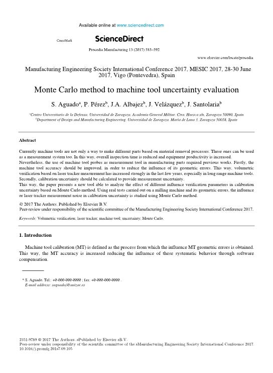 Monte Carlo method to machine tool uncertainty evaluation
