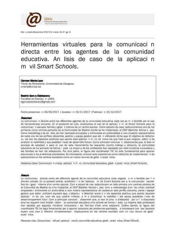 Herramientas virtuales para la comunicación directa entre los agentes de la comunidad educativa. Análisis de caso de la aplicación móvil Smart Schools