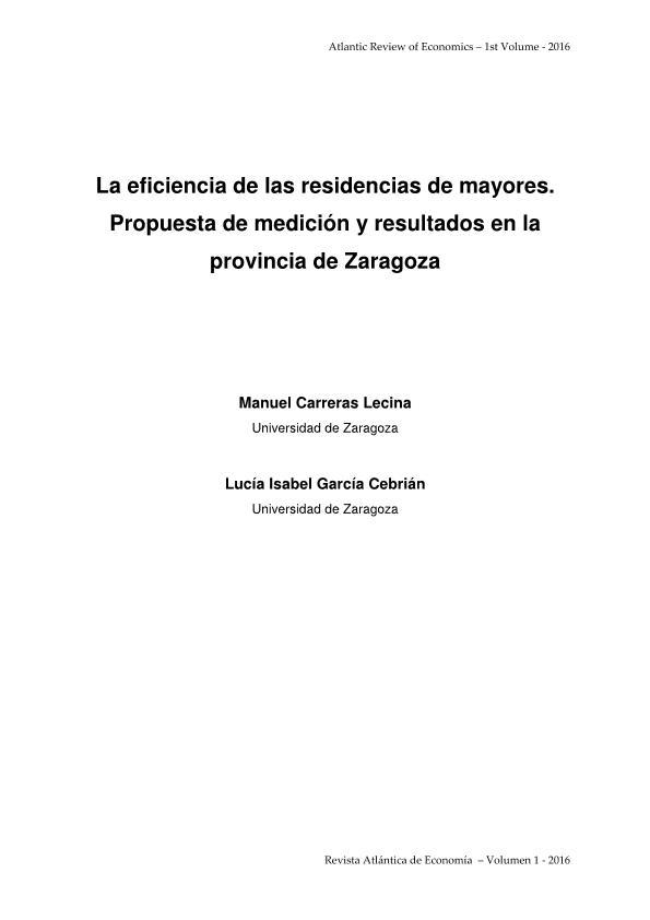 La eficiencia de las residencias de mayores. Propuesta de medición y resultados en la provincia de Zaragoza