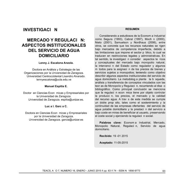 Mercado y regulación: aspectos institucionales del servicio de agua domiciliario