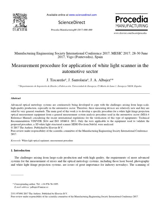 Measurement procedure for application of white light scanner in the automotive sector